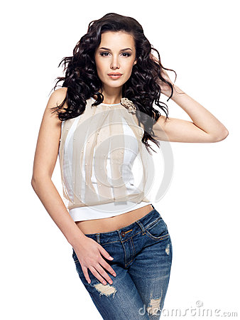 Free Fashion Model With Long Hair Dressed In Blue Jeans Stock Images - 27795294