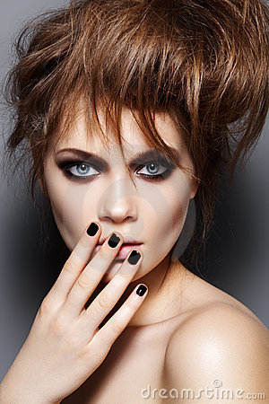 Free Fashion Model With Tousled Hair, Make-up, Manicure Stock Photos - 18497653
