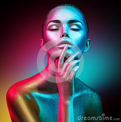 Free Fashion Model Woman In Colorful Bright Sparkles And Neon Lights Posing In Studio, Portrait Of Beautiful Sexy Girl Stock Image - 112380641