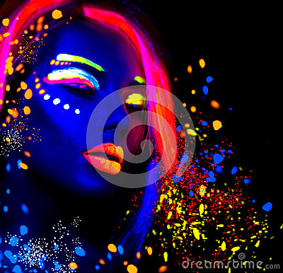 Free Fashion Model Woman In Neon Light Royalty Free Stock Photos - 72849578