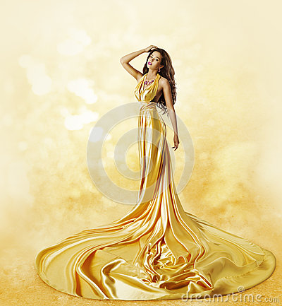 Free Fashion Model Yellow Dress, Woman Posing Twisted Beauty Gown Stock Images - 54268654