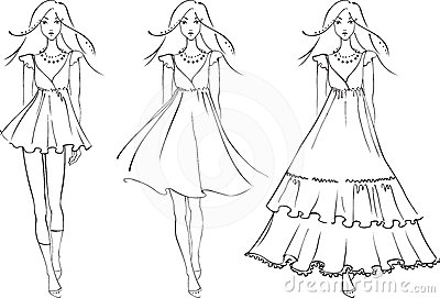 Fashion models in dresses