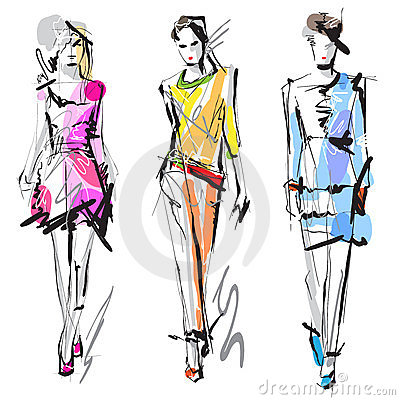 Free Fashion Models. Sketch. Stock Photography - 23554712