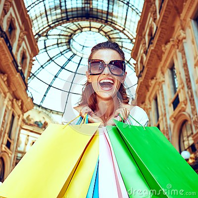 Free Fashion Monger With Shopping Bags In Galleria Vittorio Emanuele Stock Image - 89156861