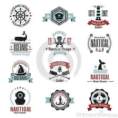 Fashion nautical logo sailing themed label or icon with ship sign anchor rope steering wheel and ribbons travel element Vector Illustration