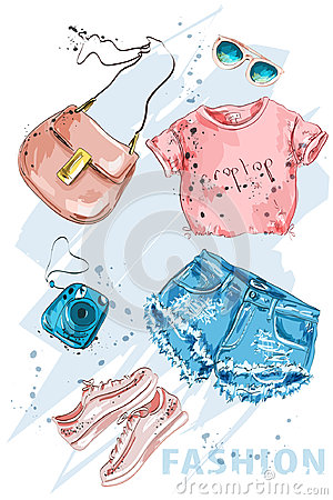 Free Fashion Outfit. Stylish Trendpy Clothing: Shorts, Crop Top, Bag, Shoes, Sunglasses And Photo Camera. Fashion Summer Girl Clothes. Royalty Free Stock Image - 95569996