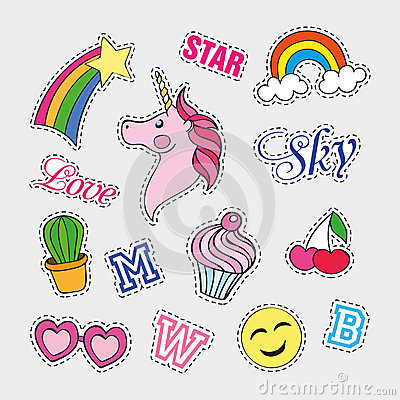 Free Fashion Patch Badges With Different Elements. Set Of Stickers, Pins, Patches And Handwritten Notes Collection In Cartoon Stock Images - 76961104