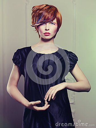 Beautiful lady in black dress
