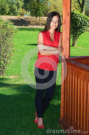 Fashion picture of a young beautiful woman leaned against wooden