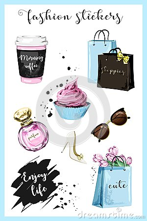 Free Fashion Planner Girl Stickers With Coffee Cup, Shopping Bags, Perfume, Shoe, Sunglasses, Flowers, Cupcake And Slogan Sticker. Stock Photography - 99712302