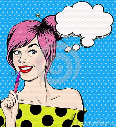 Fashion pop art illustration girl with pen in the hand with speech bubble. Student girl. Youth. Young student at the lesson. Cartoon Illustration