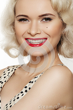 Fashion portrait of beautiful laughing woman model