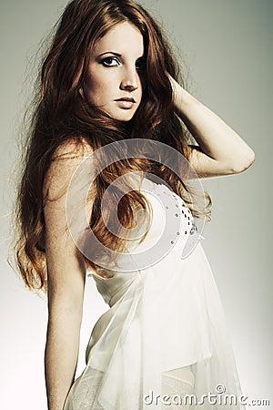 Fashion portrait  beautiful redheaded woman