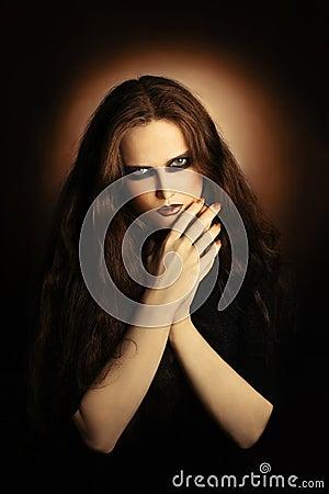 Fashion portrait of gothic woman.