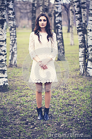 Free Fashion Portrait Of Beautiful Girl In Park. Woman Outdoors Stock Images - 55480304