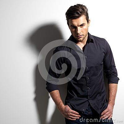 Free Fashion Portrait Of Young Man In Black Shirt Royalty Free Stock Photo - 29258075