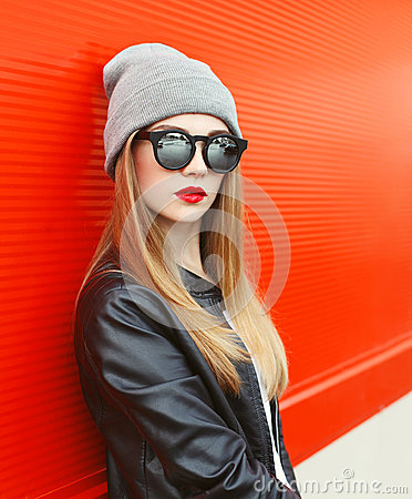 Free Fashion Portrait Stylish Woman Wearing A Rock Black Leather Jacket And Sunglasses Royalty Free Stock Image - 60966686
