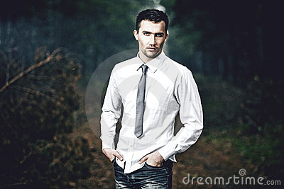 fashion portrait of young man, outdoors