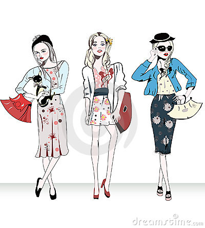 Fashion retro girls with bags