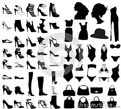 Fashion shoes, bags, swim suit silhouette set