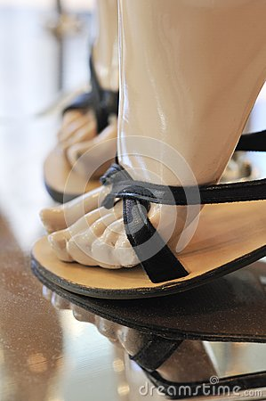 Fashion shoes on display