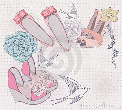 fashion shoes, flowers and birds background