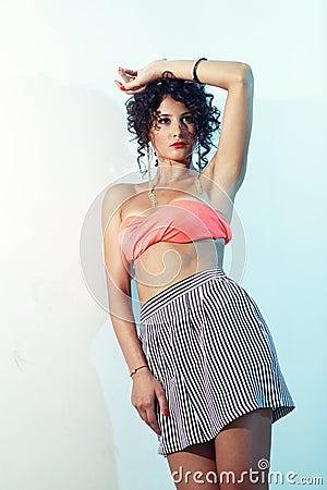 Free Fashion Shoot Of Beautiful Curly Teenage Girl Royalty Free Stock Image - 28824086