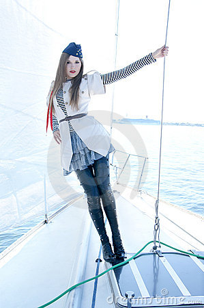 Fashion shoot of a young woman in a sailor costume