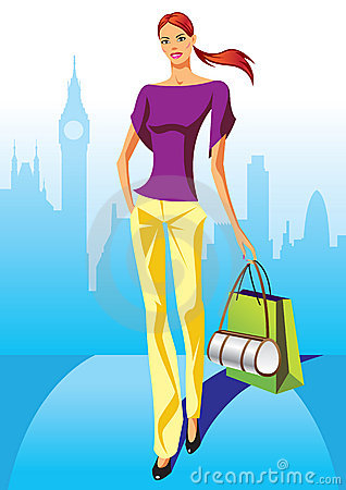 Fashion shopping girls with shopping bag in London