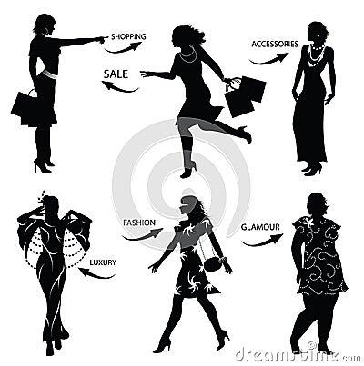Free Fashion Shopping Woman Silhouettes Stock Photos - 15008813
