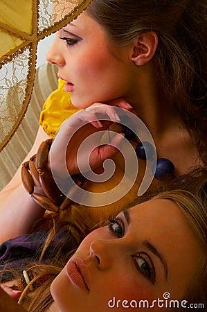 Fashion shot of 2 beautiful models