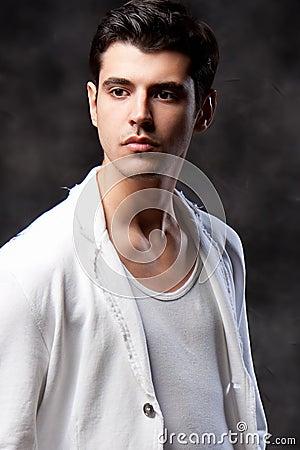 Fashion Shot of a macho Man. A trendy European man