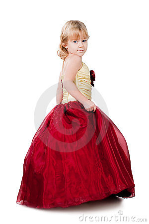 Fashion show little girl red in gown isolated