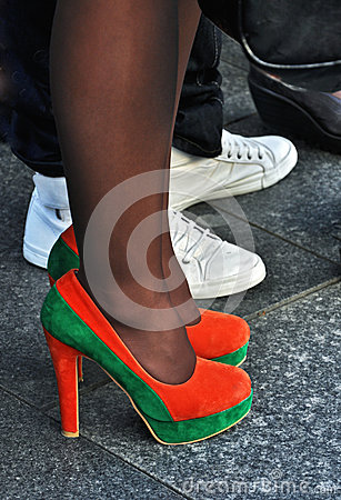 Orange and green high heels
