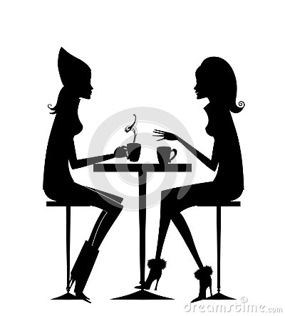 Free Fashion Silhouette Of Two Girlfriends Having Coffee Stock Photos - 102500723