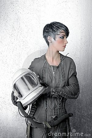 Fashion silver woman spaceship astronaut helmet