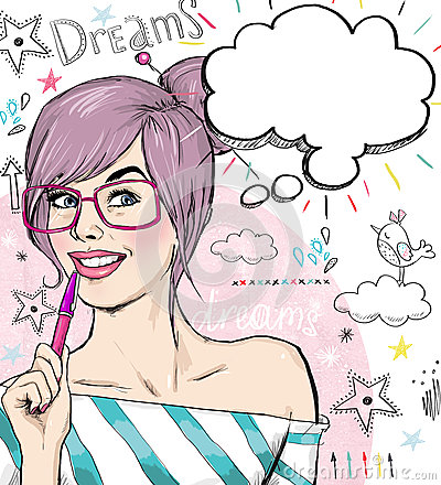 Free Fashion Sketch Illustration Girl With Pen In The Hand With Speech Bubble. Student Girl. Youth. Young Student At The Lesson. Young Royalty Free Stock Images - 52062789