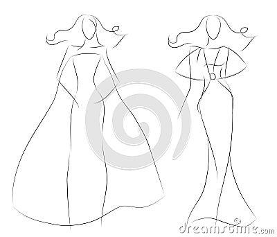 Fashion Sketch Women Model In Vintage Summer Dress Stock