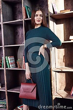 Free Fashion Style Woman Perfect Body Shape Brunette Hair Wear Green Wool Dress Suit Elegance Casual Beautiful Model Secretary Air Host Stock Image - 84227511