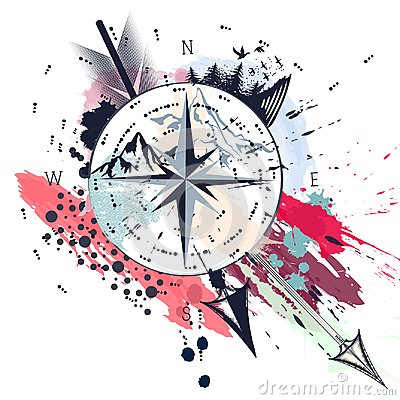 Free Fashion T-shirt Print With Vector Boho Arrows And Nautical Rose Royalty Free Stock Photos - 113900498