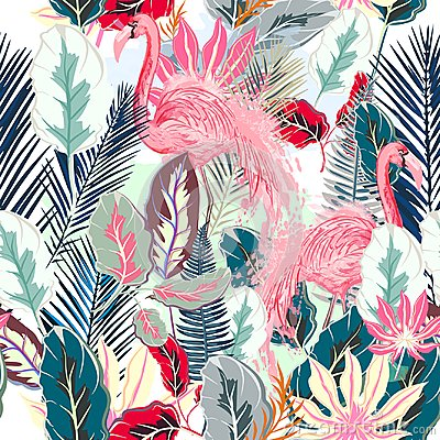 Free Fashion Tropical Vector Artistic Pattern With Pink Flamingo And Royalty Free Stock Image - 111844526