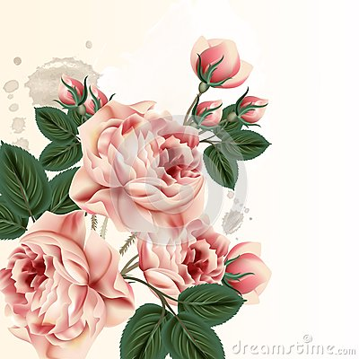 Free Fashion Vector Background With Roses In Vintage Style Royalty Free Stock Images - 53871549
