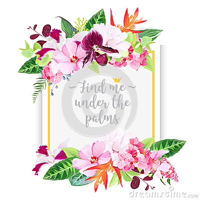 Free Fashion Vector Design Square Card With Tropical Flowers Royalty Free Stock Image - 96593546