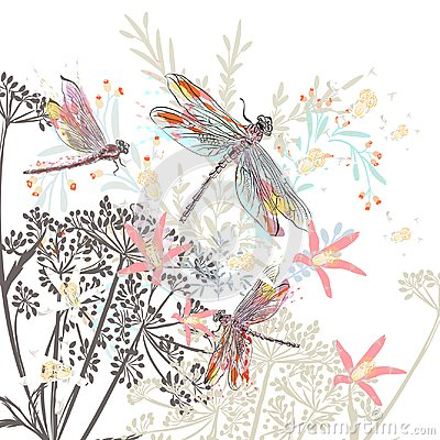 Free Fashion Vector Illustration Flowers And Dragonfly Royalty Free Stock Photos - 114973228