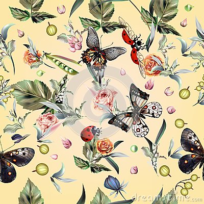 Free Fashion Vector Summer Pattern With Hand Drawn Butterflies And Fl Royalty Free Stock Image - 106762226
