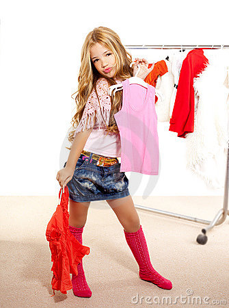 Fashion Victim Kid Girl At Backstage Wardrobe Royalty Free