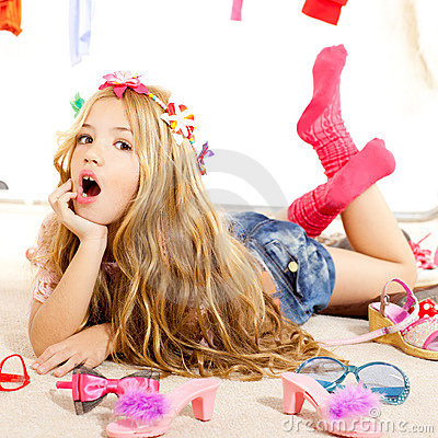 Free Fashion Victim Kid Girl Wardrobe Messy Backstage Stock Images - 23147314