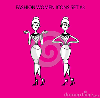 Fashion woman icon doodles tattoo girls part 1 fashionable lady