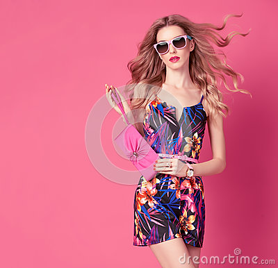 Free Fashion Woman In Trendy Spring Summer Flower Dress Royalty Free Stock Photography - 85342127