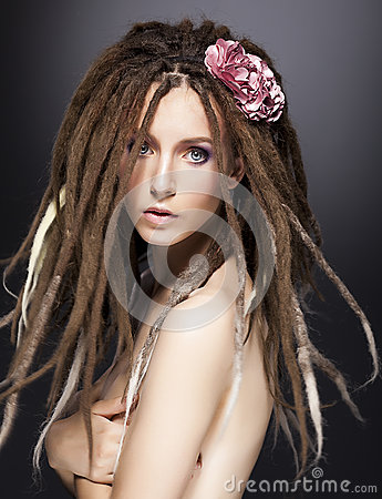 Fashion woman mod, dreads glamour hairstyle